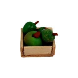 Holzkiste mit Äpfeln 2 cm