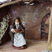 Krippenfiguren Bettler kniend mit Teller 14 cm