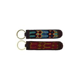 Schlüsselanhänger aus Leader und Handgewebt - lila