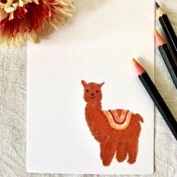 Postkarte kleine Alpaka
