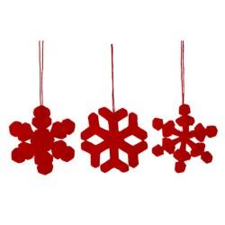 Baumschmuck 3er Set Schneeflocken rot aus Filz