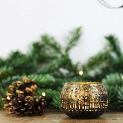 Teelichtschale bronzen/golden klein