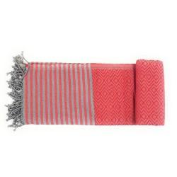 Handtuch Fouta rot Baumwolle