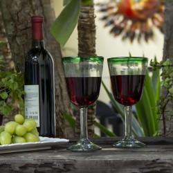 Cocktailgläser 2er Set grüner Rand, Mundgeblasene Gläser