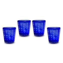 Gläser 4er Set blau mit Punkten