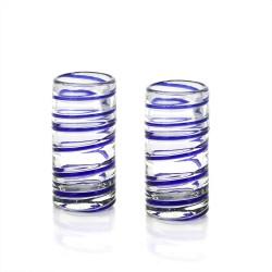 Schnapsglas 2er Set blau spiral , Mundgeblasenes Glas