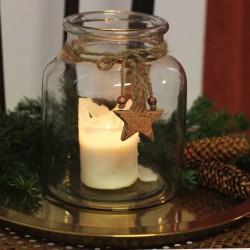 Teelichthalter Glastopf ø 10,5cm klar mit , Windlicht Deko Stern