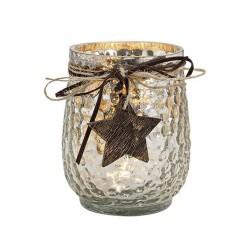 Windlicht aus Glas mit Holz Stern Anhänger