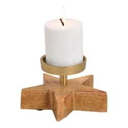 Kerzenhalter aus Metall auf Holz Stern