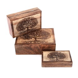 3er Set Tree Of Life Wooden Boxes