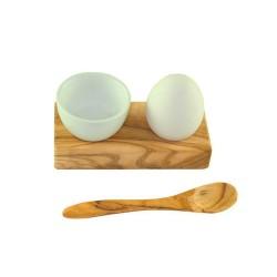 Eierhalter mit Eierbecher und Löffel Olivenholz