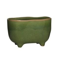 Blumentopf grün Keramik oval