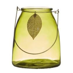 Laterne Leaf grün 15cm