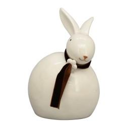Osterdeko Hase mit Schal Keramik weiß