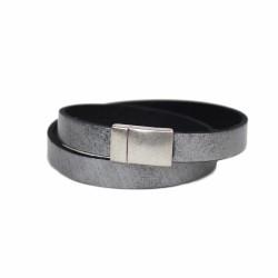 Lederarmband grau | Magnetverschluss silber