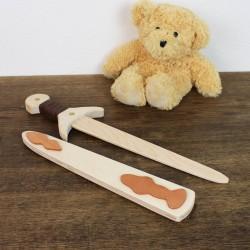 Holzschwert mit Holzhülle hell, Spielzeug