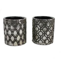 2er Set Keramik Übertopf mit Muster