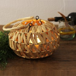 Deko Laterne aus Holz und Seegras