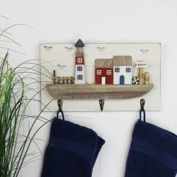 Holz Bild Garderobe mit Leuchtturm