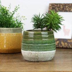 Blumentopf aus Keramik grau/grün, rund