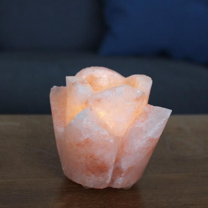Teelichthalter aus Salz Rose