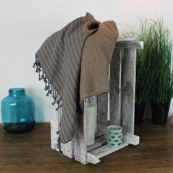 Handtuch Fouta grau/beige