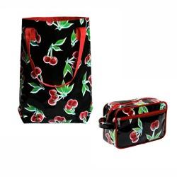Shopper Cerezas schwarz / Einkaufstasche - Ikuri