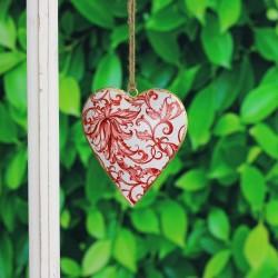 Fensterdeko aus Metall in Herz Design rot/weiß