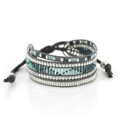 Armband aus Glasperlen Ludica grau