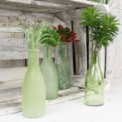 Bottle 4er Set aus Glas grün