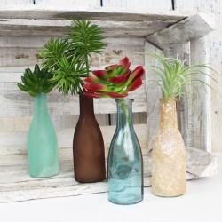 Bottle 4er Set aus Glas braun/grün