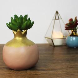 Vase Granatapfel aus Keramik Pink/Rosa, gold
