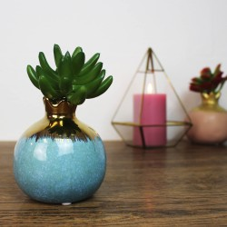Vase Granatapfel aus Keramik Grün, gold