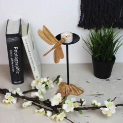 Kerzenständer aus Holz Libelle