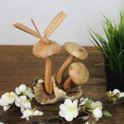 Dekofigur aus Holz Libelle auf Pilzen