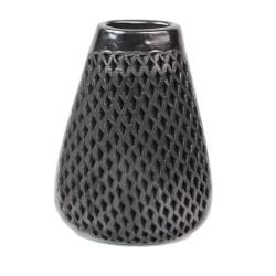 Dekovase aus schwarzer Keramik groß, Olla Karo
