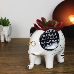 Blumentopf aus Keramik Elefant mit Brille Weiß