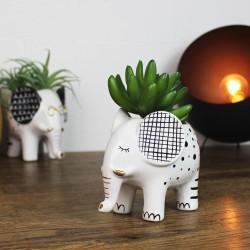 Blumentopf Elefant aus Keramik Weiß