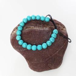 Armband aus Steinperlen aqua 8mm