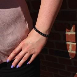 Armband aus Steinperlen schwarz