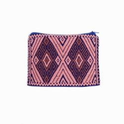 Geldbörse, Portemonnaie Handgewebt rosa/dunkelblau