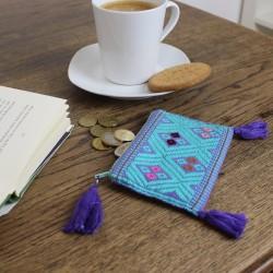 Geldbörse, Portemonnaie Handgewebt lila/grün