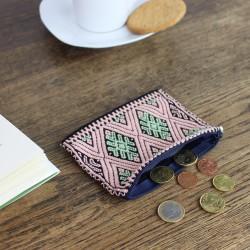 Geldbörse, Portemonnaie Handgewebt rosa/schwarz
