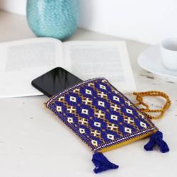 Handgewebte Handy Tasche blau