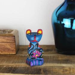 Alebrije aus Holz Katze sitze mit Blumen
