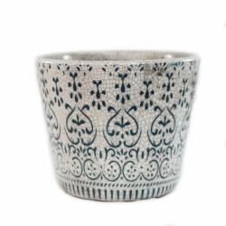 Blumentopf aus Keramik weiß/blau