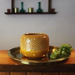 Dekovase aus Keramik Panal gelb