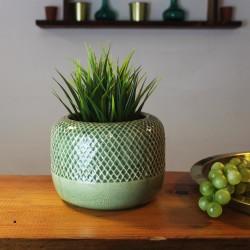 Dekovase aus Keramik Panal grün