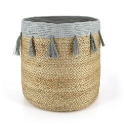 Korb aus Jute mit Baumwoll-Quasten klein