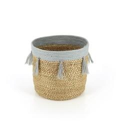 Korb aus Jute mit Baumwoll-Quasten groß